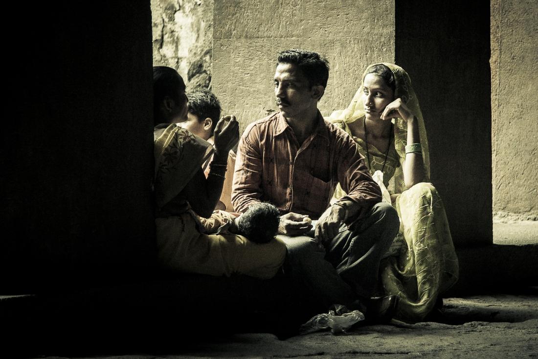 Family moment. Elephanta Island, Maharashtra. India